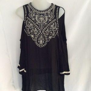 Black Embroidered Cold Shoulder Top